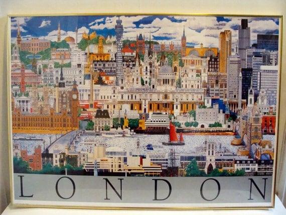 35 X 25 Vintage London Travel Poster United Kingdom Retro