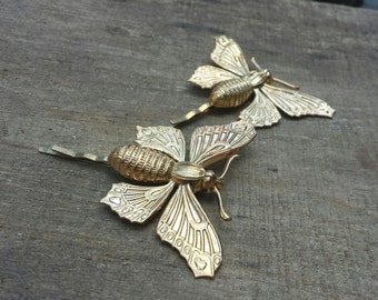 brass or silver tone moth hairpins