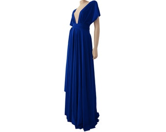 Twist wrap long bridesmaid dress Royal blue convertible prom maxi dress