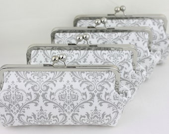 Gray & White Damask Bridesmaid Clutches / Wedding Purses / Floral Bridesmaid Purse Clutch - Set of 8