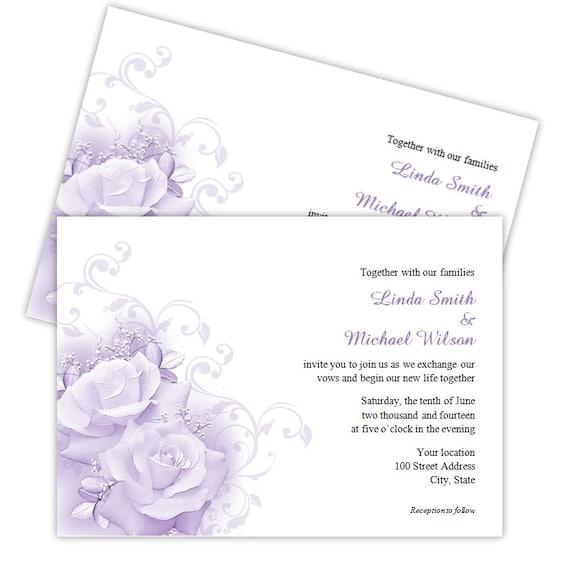 Elegant Wedding Invitation Templates: Wedding Invitation Template Elegant Purple Roses DIY