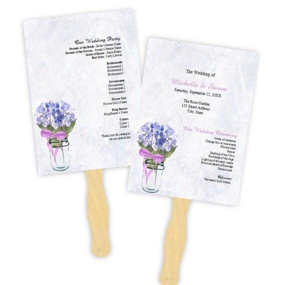 Country Wedding Program Fan Blue Hydrangeas In A Mason Jar