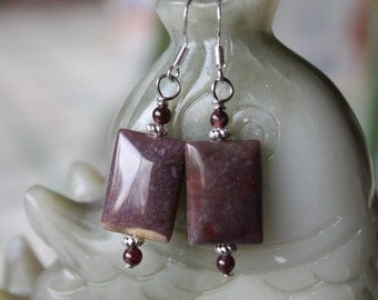 Nice Rectangle Natural Indian Agate With Red Garnet Earrings, sterling silver hook 01