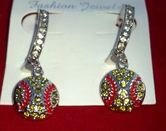 Rhinestone Bling Dangle Softball Earrings