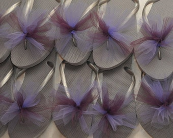 SALE!! Custom WEDDING Flip Flops, BRIDESMAID Flip Flops, Simple & Elegant Tulle Flip Flops, Bridesmaid Gifts, Bridal Gift, Weddings