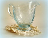 Vintage Creamer- Fostoria Versailles- Blue Footed Creamer 1928-1943, Azure, Etched, Depression Glass, Restaurant Supply, Country Home