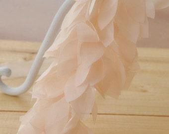 light peach chiffon trim, chiffon leaves, wedding chair sashes, tree leaves, costume chiffon trim