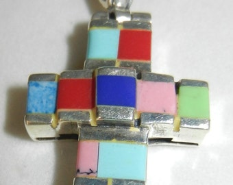 Sterling Silver 925 Thai Multi Stone Cross Pendant
