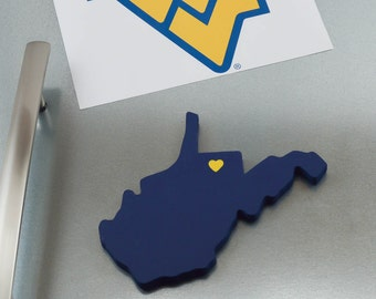 "West Virginia Mountaineers ""State Heart"" Magnet, handcrafted wood with official team colors"