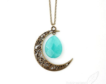 "Vintage Boho Half Moon Pendant, Boho Crescent Moon, Gypsy, Spring Summer, Simple Cable Chain, Moon pendant 1.65"", LONG 25"" Necklace"