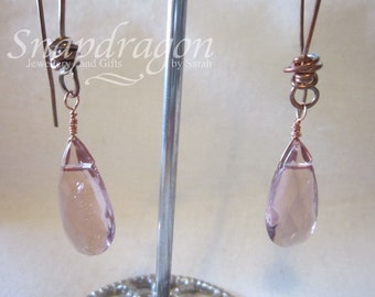 Pretty faceted lavender glass drop earrings