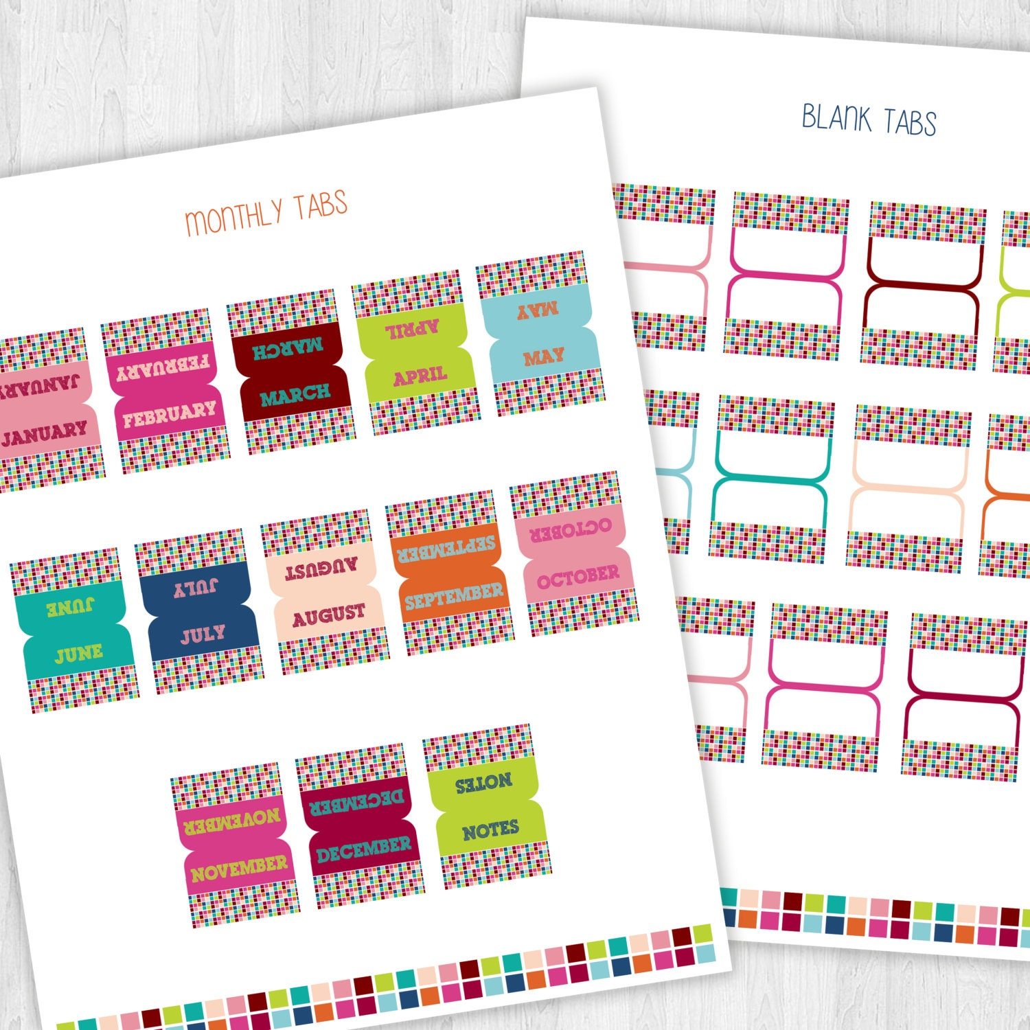 2015 Daily Planner Tabs Printable PDF Pages by EmbellisheDesigns