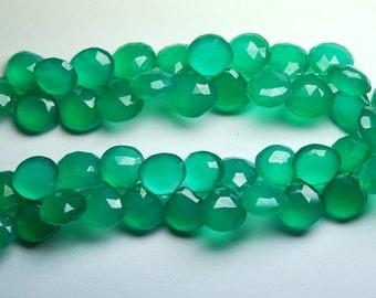 8 Inch Long Strand,Superb-EMERALD GREEN ONYX Faceted Heart Shape Briolettes,10-11mm size,Superb Item