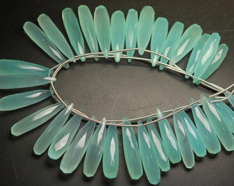 8 Inch Long Strand, 25-35mm Long,Aqua Chalcedony Faceted Elongated Drops Shape Briolettes