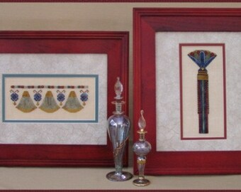 """Cross Stitch Instant Download """"Egyptian Duo"""" Ancient Egyptian Design Pattern. Counted Embroidery. Lotus. Papyrus. Fertility. Joy. X Stitch."""