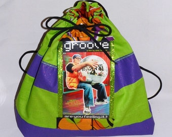 "Drawstring Backpack from upcycled raver cult classic ""Groove"""