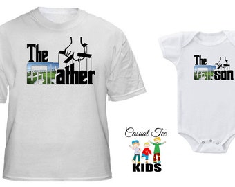 Daddy and Son The Golfather Golfson Matching Golfing Tshirt and Baby Bodysuit Father's Day for Dad and Baby