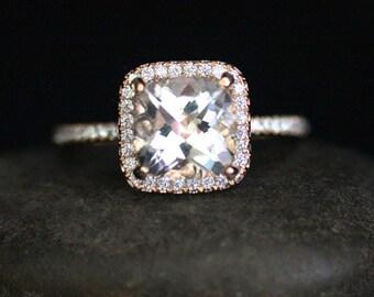 Rose Gold White Topaz Engagement Ring Cushion White Topaz Ring in 14k Rose Gold with Diamonds and White Topaz Cushion 8mm