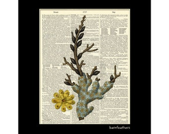Dictionary Art Blue Coral Illustration Vintage Dictionary Page Beach Art Print No.P271