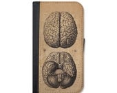 Vintage Brain Medical Illustration Wallet Case Choose Samsung Galaxy S3, S4, S5, S6, S6 Edge or Galaxy S7.