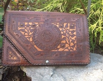 Hand Tooled Vintage 1950's Leather Purse Clutch
