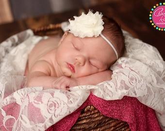 Single Cream Shabby Chic Headband..Newborn Headband..Baby Girl Headband..Headband..Infant Headband..Baby Headband..Baby Headbands