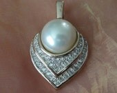 1980s Signed Panetta Pearl and Rhinestone Heart Pendant with Pearl Enhancer Bail