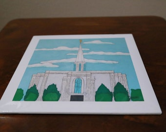 St. Louis temple giclee print on 11x11 inch enhanced matte paper.