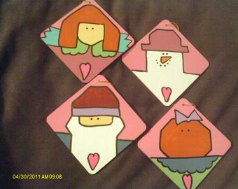Country Coaster Ornaments - Set of 4