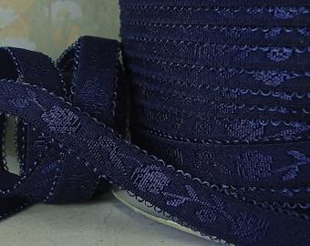 3yds Elastic Satin Shiny Dark Blue Elastic band 1/2 inch for Headbands Bra Strap Elastic by the yard