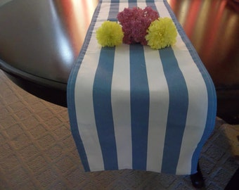 blue and white canopy table runner