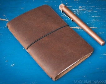 Indie Notebook, Field Notes cover, leather notebook, pocket notebook, Horween Chromexcel leather
