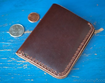 6 Pocket Horizontal wallet, hand stitched, Horween leather - brown chromexcel