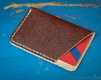 The Minimalist: micro card wallet, business card holder, card case, hand stitched Horween leather, front pocket wallet - football