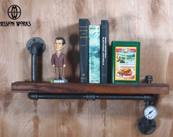 Original Handmade Industrial Machine Age Steampunk Wood and Pipe Wall Shelf With Gauge