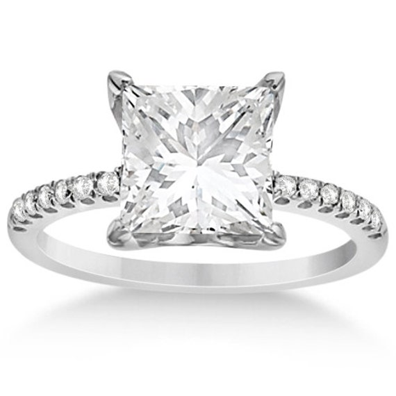 princess cut moissanite engagement ring 14k by