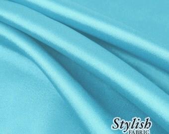 "60"" Aqua Charmeuse Satin Fabric by the Yard, Charmeuse Fabrics, Charmeuse Satin Fabrics, Bridal Wedding Satin Fabric  - 1 Yard Style 2800"