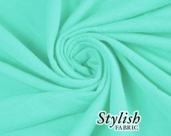 Green Topaz Cotton Lycra Jersey Knit Fabric Combed 7oz by the Yard Cotton Stretch Jersey Knit by the yard - 1 Yard Style 477