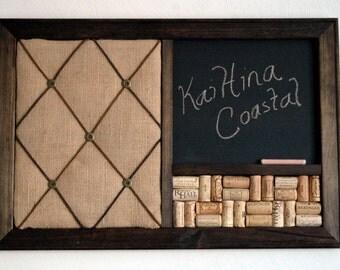 Burlap French Memo Board, Wine Corkboard U0026 Chalkboard Kitchen Wall Organizer