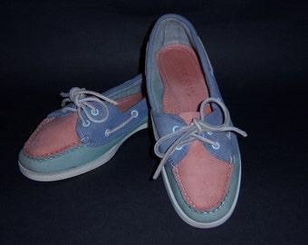 Vintage Cole Haan Pink Blue Lavender Patchwork Soft Leather Topsiders Boat Shoes 7 Medium