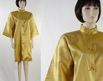 Vintage Woman's Oriental / Asian / Japanese Gold Satin Dress / Kimono Sleeves / Mandarin Collar - Size Small / 1960s