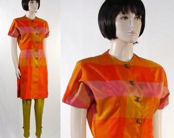 Vintage Women's 1980 Tunic & Slacks / Elsie Das / Made in Honolulu + Extra Sarff Zumpano Slacks / New York - Line Green / Orange