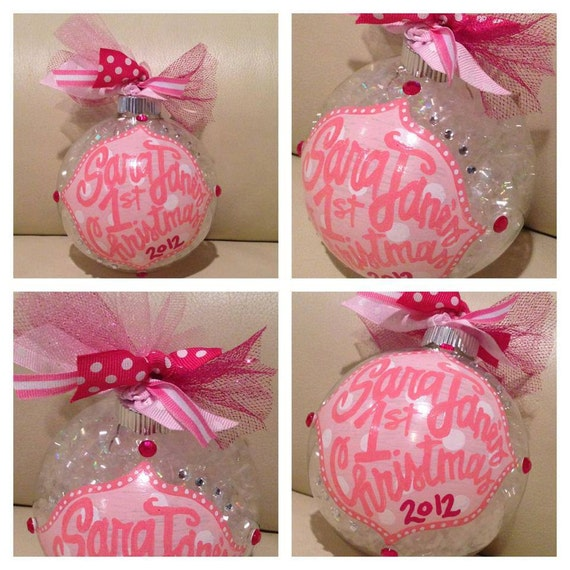 """Baby Girl Christening Favors Glass Ornament: Items Similar To Custom Hand Painted BLING Cute 4"""" Glass"""