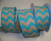 Burlap Ribbon, Turquoise Chevron Ribbon,Rustic Wedding Decor, 5 yards,