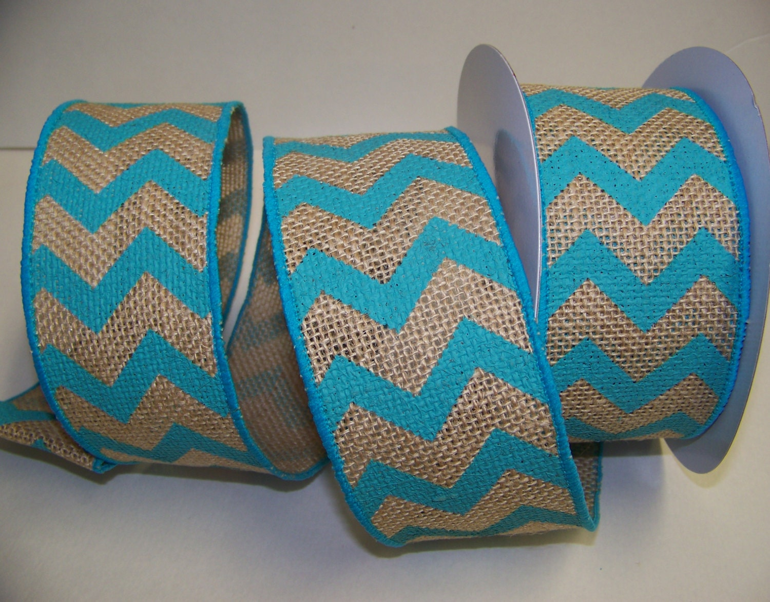 Burlap Ribbon Turquoise Chevron Ribbonrustic Wedding Decor