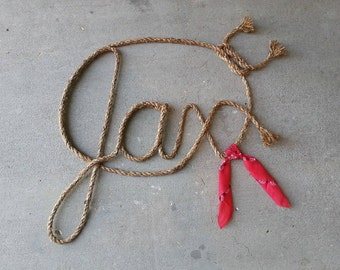 3 LETTER Name Western Rope Art WITH BANDANNA