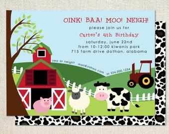 Farm Barn Birthday Party Invitation for Boy or Girl
