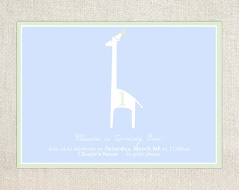 Giraffe first birthday party invitations
