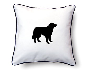 Newfoundland Pillow 18x18 - Newfoundland Silhouette Pillow - Personalized Name or Text Optional