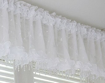 "white beads valance curtain sheer window kitchen waverly drape bedroom 59x 15"""